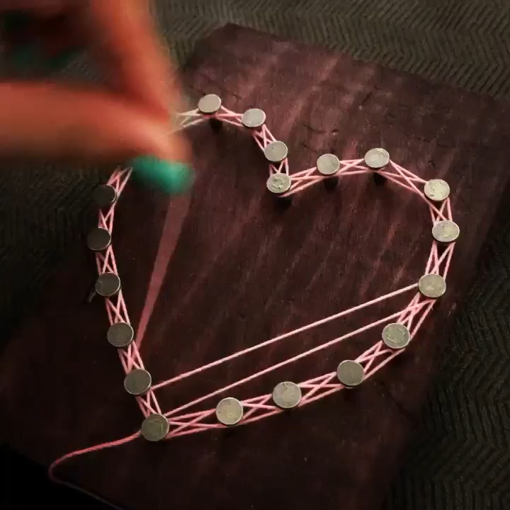 Small String Art Heart Photo Display, reclaimed wood photo display