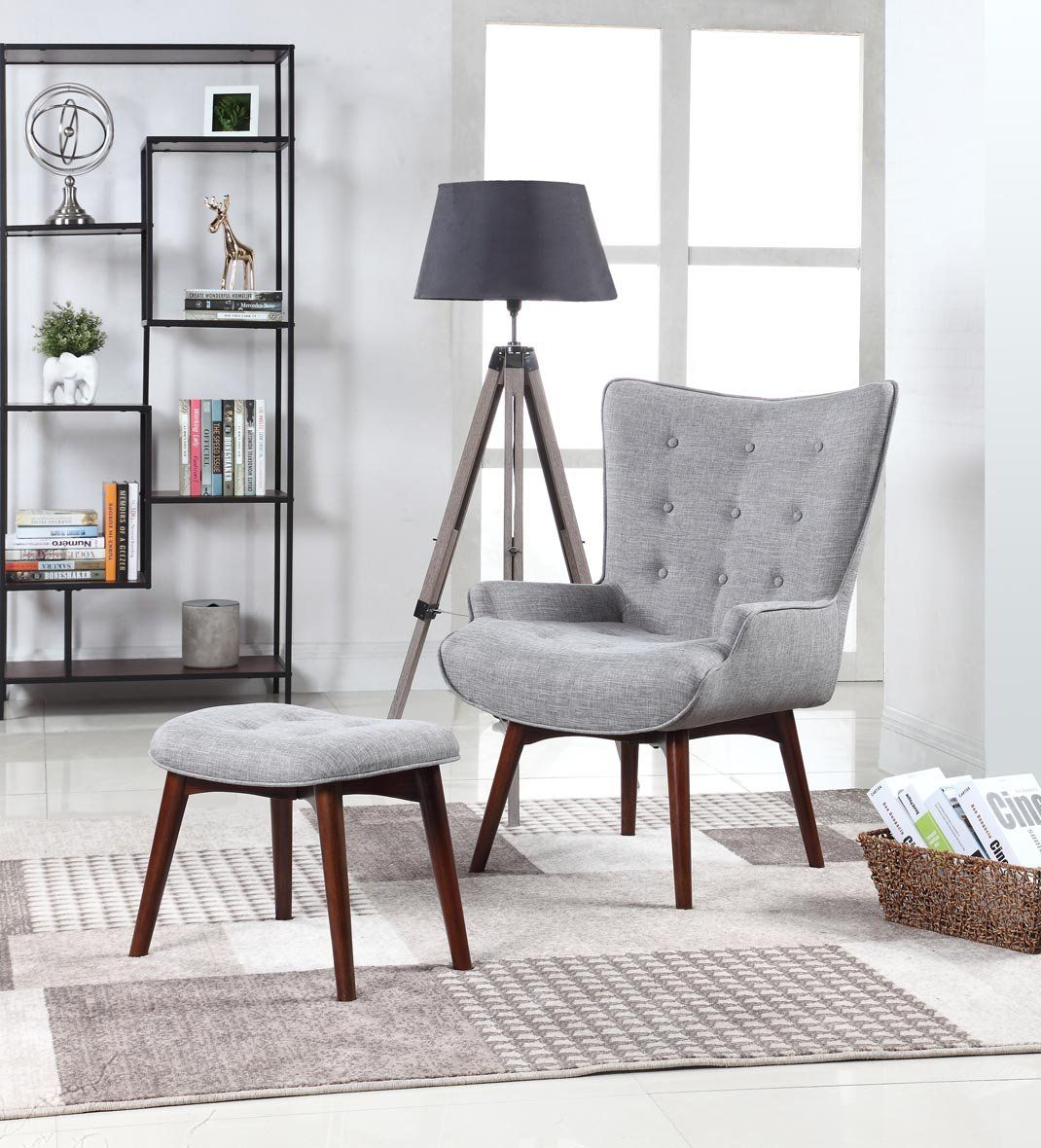Belham MidCentury Modern Accent Chair With Ottoman Mid