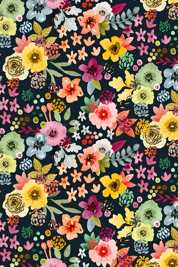 Colorful fabrics digitally printed by Spoonflower - Spring Floral at Night by Angel Gerardo