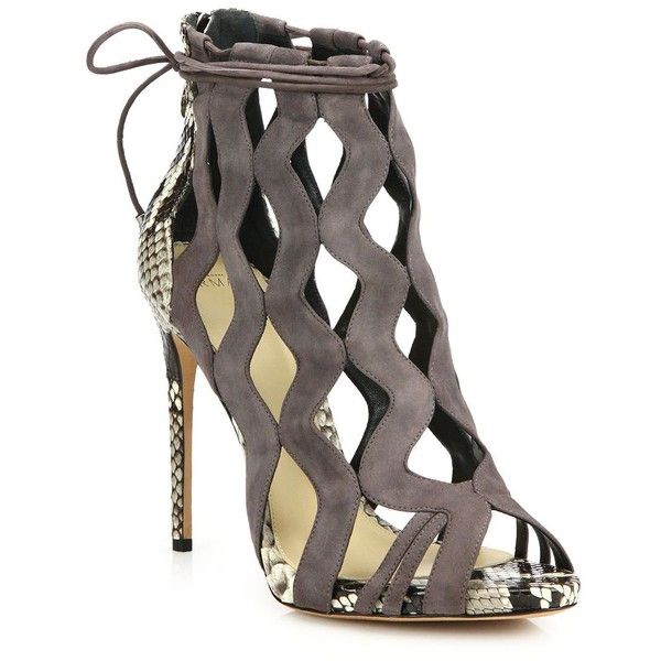 Alexandre Birman Loretta Suede & Python Cut-Out Sandals ($950) ❤ liked on