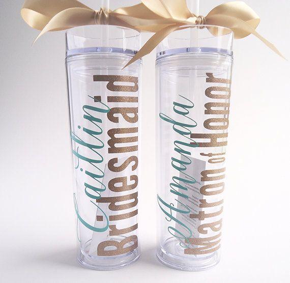 Bridesmaid Skinny Tumbler With Glitter Vinyl Gift Set Wedding - Vinyl for cups