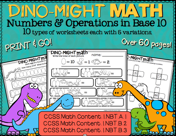 Dino-Might Math! Numbers & Operations in Base 10. CCSS Aligned ...