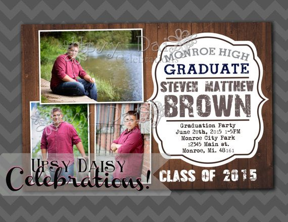 rustic wood graduation invitation annoucement guys or girls fully