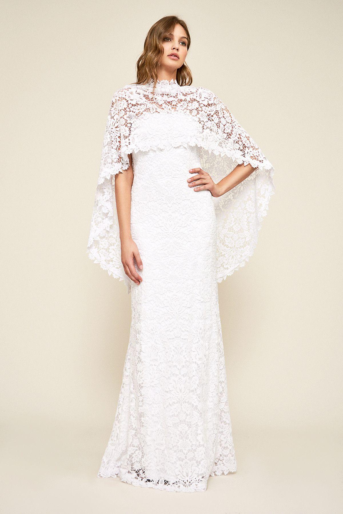 Raleigh strapless capelet gown tadashi shoji boho cape wedding