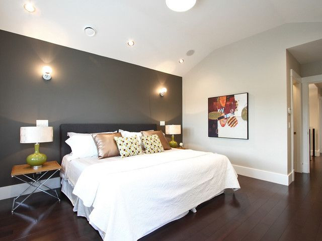 17 Dramatic Bedroom Designs With Dark Walls Gray Accent Wall