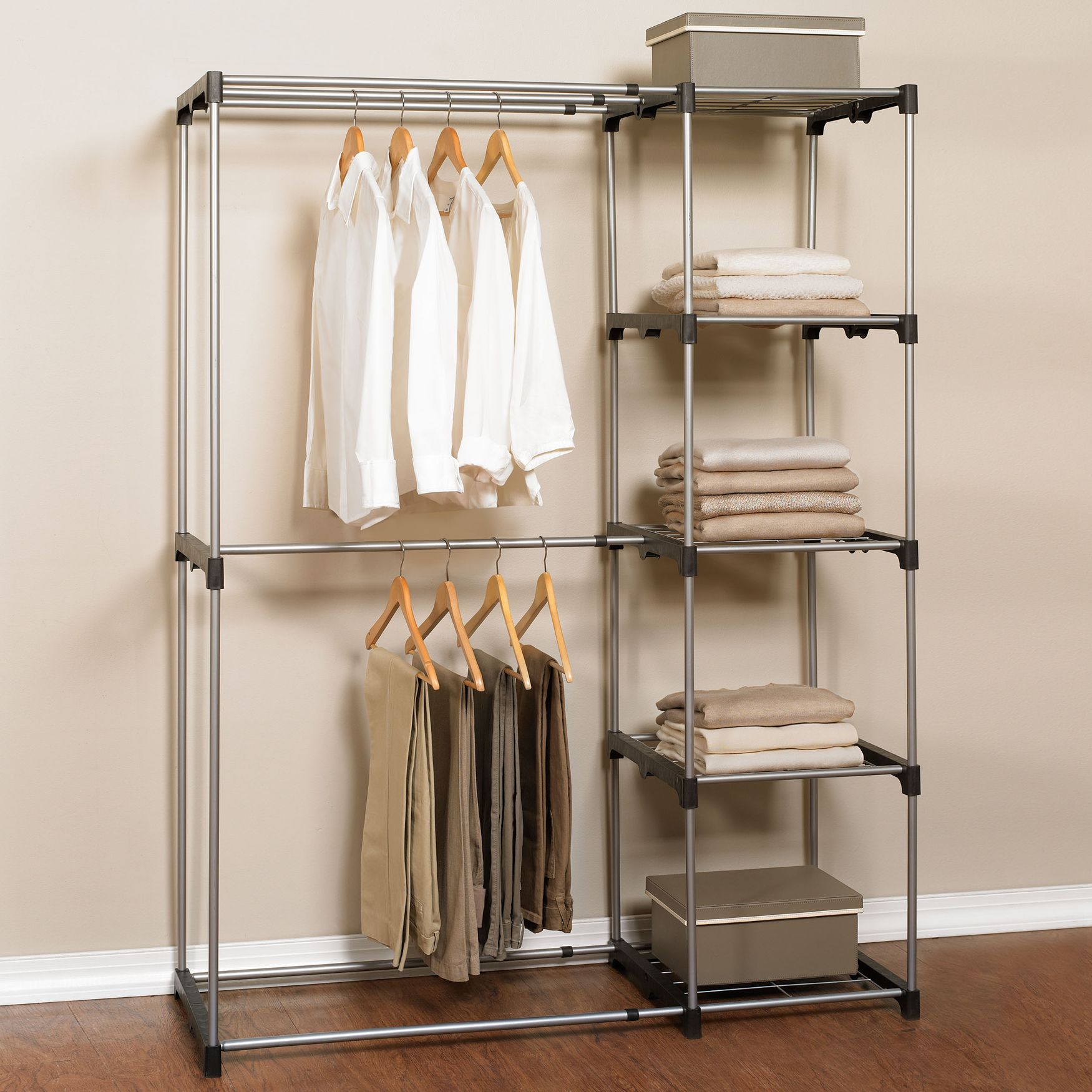 our garment rack with shelves instantly creates much needed storage space hanging rods are. Black Bedroom Furniture Sets. Home Design Ideas