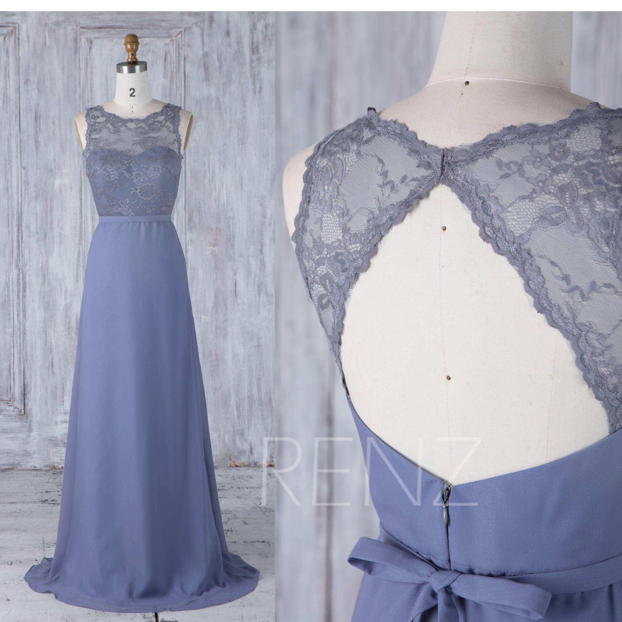 steel blue chiffon bridesmaid dress sweetheart illusion