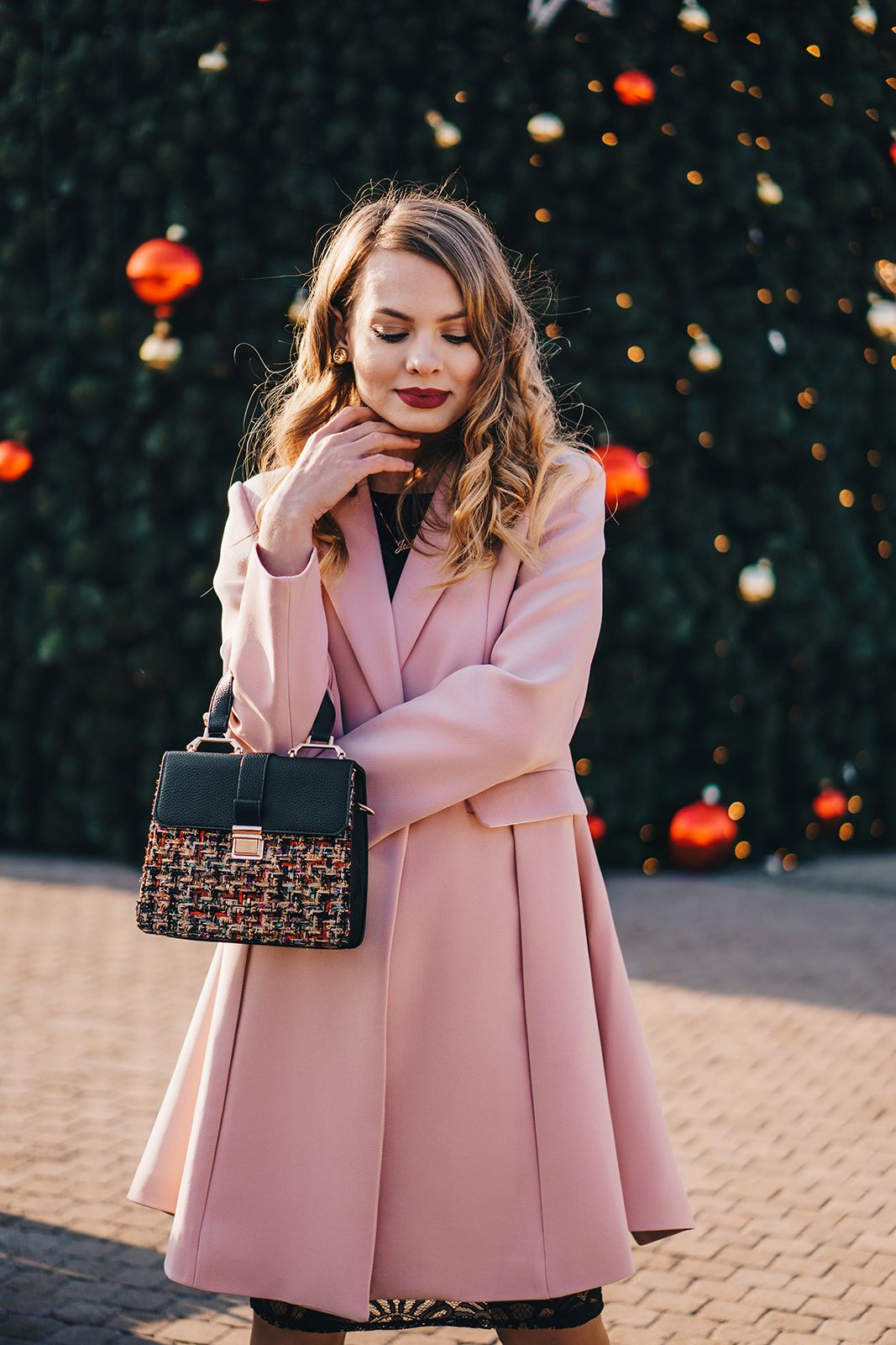 Black dress pale pink coat outfit | Pale Dogwood outfit ...