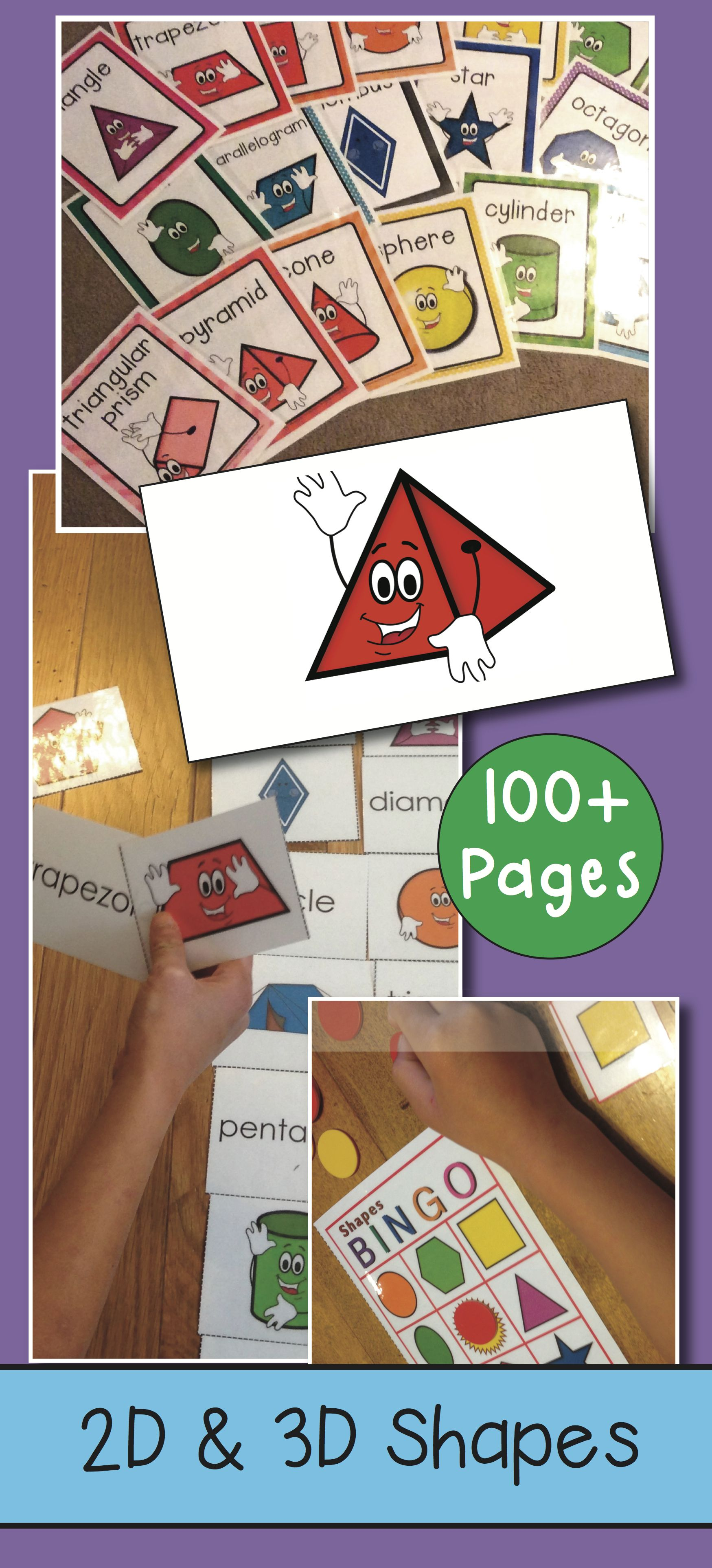 2d And 3d Shapes Packet 100 Pages Match Cards Bingo Worksheets Reader Posters 19 Shapes