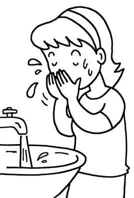 Wash Face Coloring Page