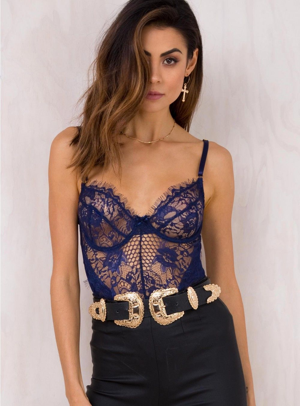449b0f7617 Pin by Princess Polly on Navy Crystal Ball Lace Bodysuit
