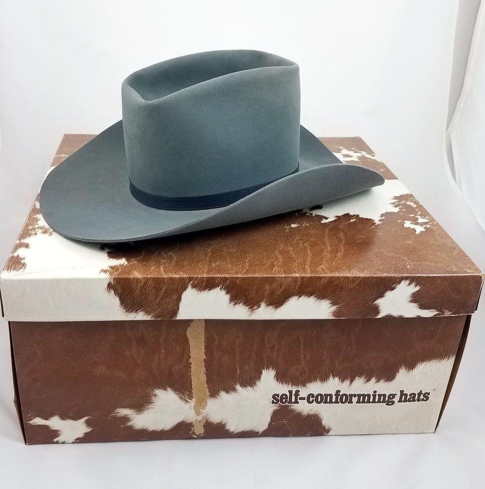 34a2d4aeef40a Resistol Self Conforming 3X Beaver Granite Gray Western Cowboy Hat Men s  6-7 8  Resistol  Western