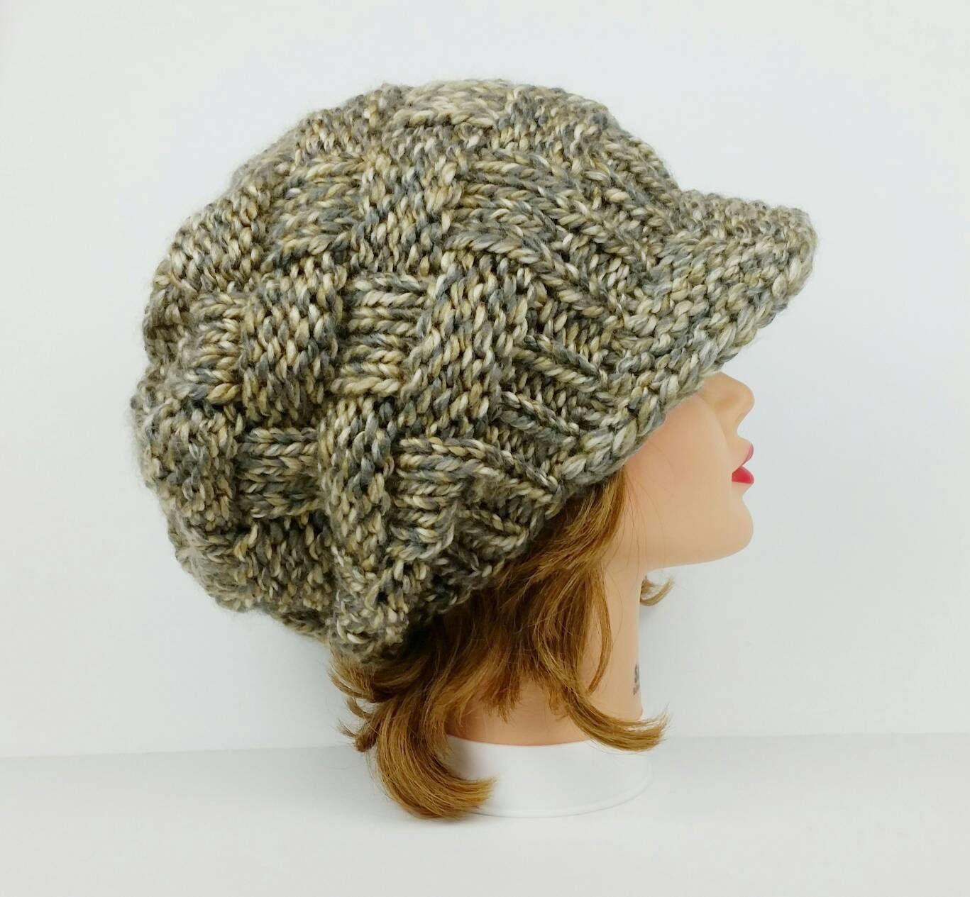 Knit Newsboy Hat Visor Beanie Chunky Knit Hat Women Visor Etsy Crochet Newsboy Hat Visor Beanie Chunky Knit Hat