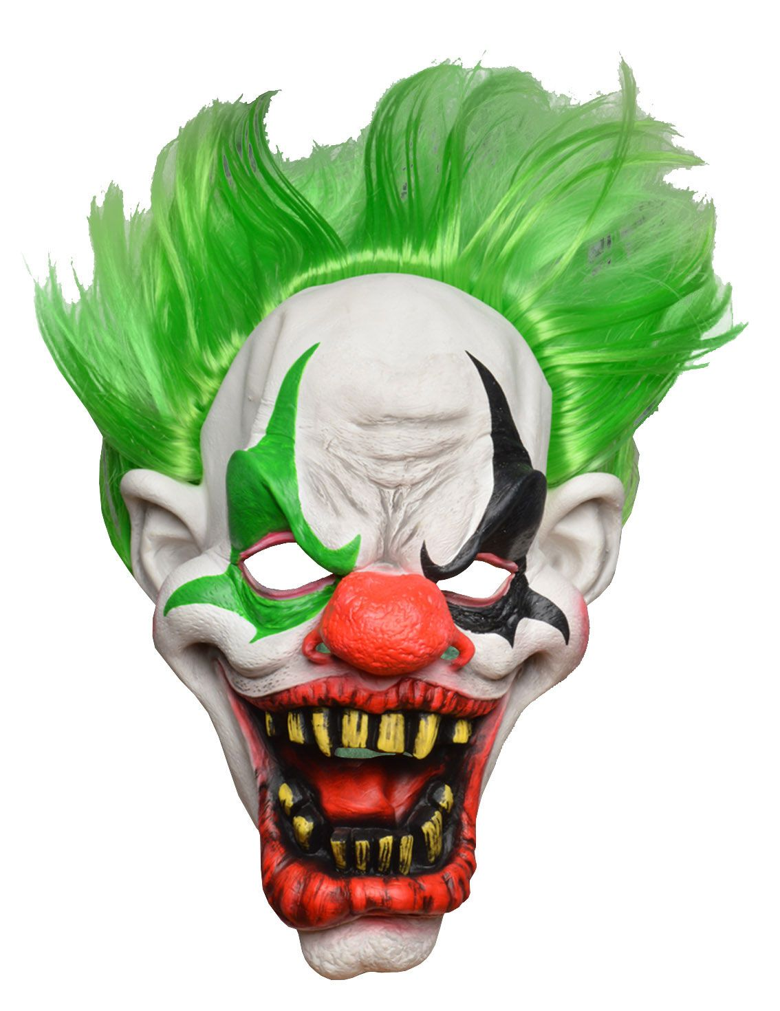 FULL HEAD HORROR CLOWN MASK WITH GREEN HAIR | halloween maskers ...