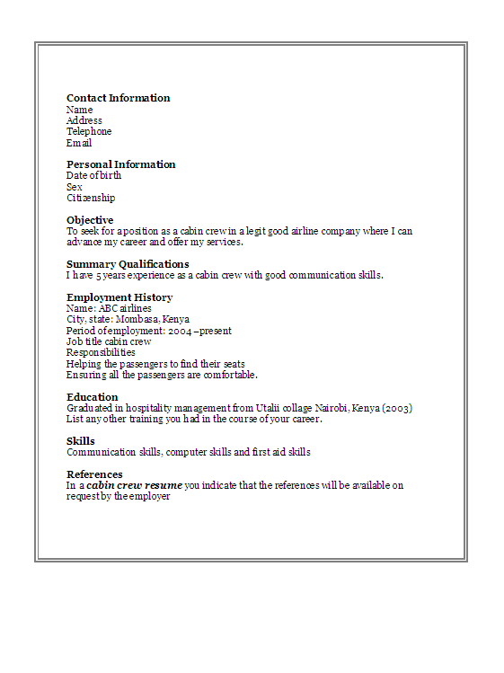 Awesome Resume Cabin Crew Ideas - Simple resume Office Templates .