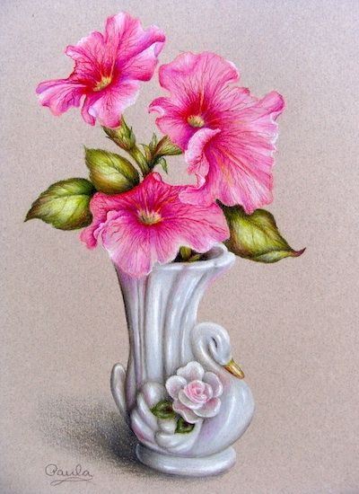 Colored Pencil Oil And Watercolor Flower Vase Drawing Pencil Drawings Of Flowers Flower Art