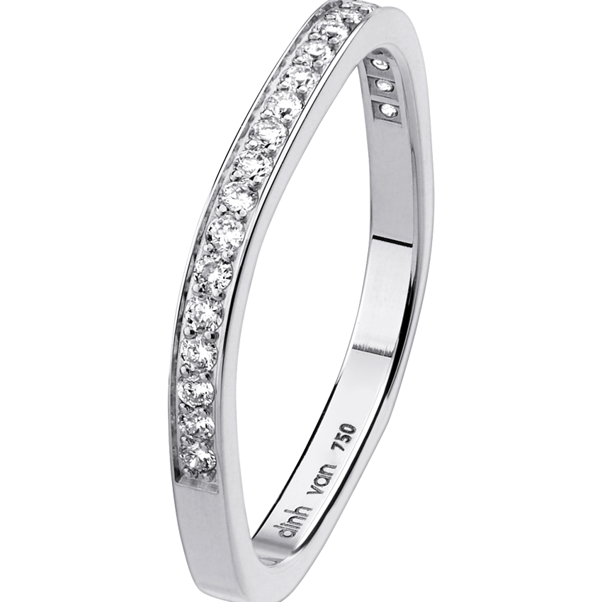 Wedding Band Square 2mm White Gold And Diamonds