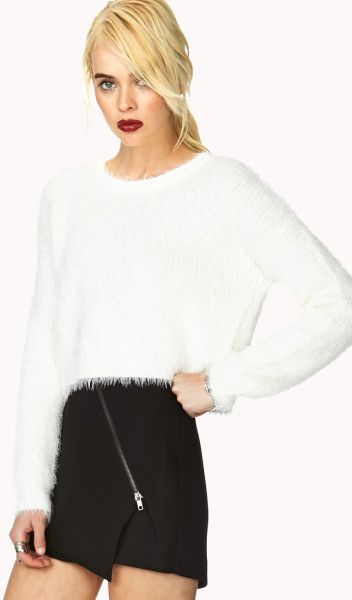 Forever 21 White Favorite Fuzzy Cropped Sweater | Salino ...