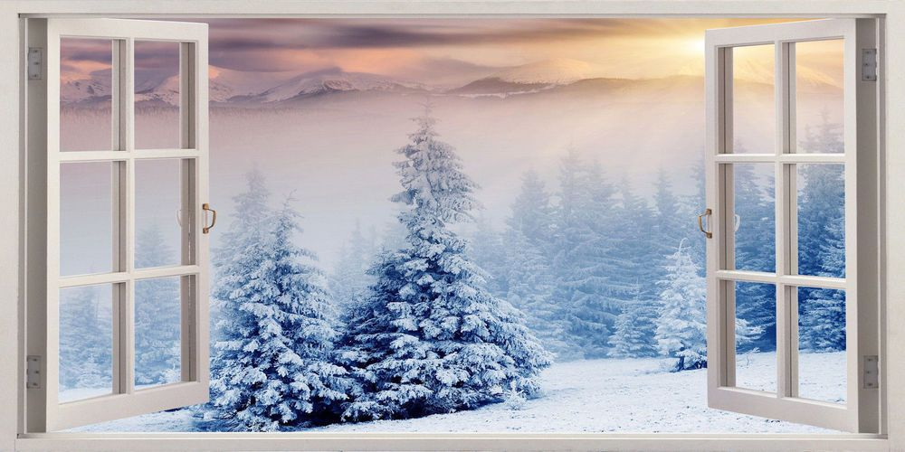 Beautiful Winter Wonderland Snow 3d Effect Window Canvas Picture Wall Art Print Canvas Picture Walls Picture Wall Wall Art Prints