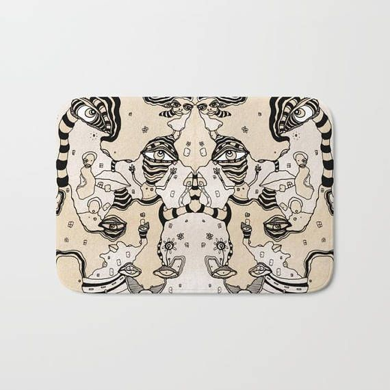 Abstract Coffee Painting Bath Mat Shabby Chic Bathroom Rug