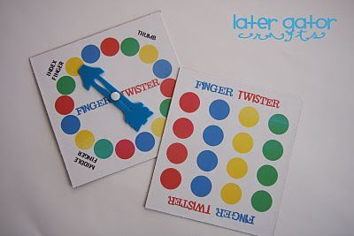 Printable Finger Twister board and spinner.