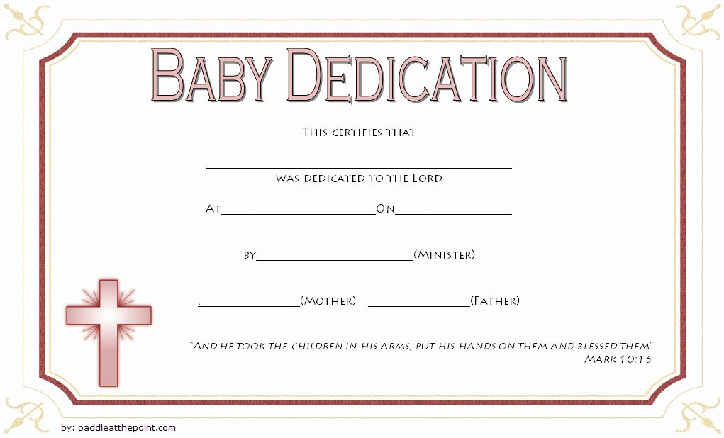 Baby Dedication Certificate Template Free Awesome Free Fillable