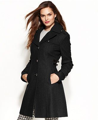 2d19e1450c Kenneth Cole Reaction Wool-Blend Side-Buckle Walker Coat - Coats - Women -  Macy s