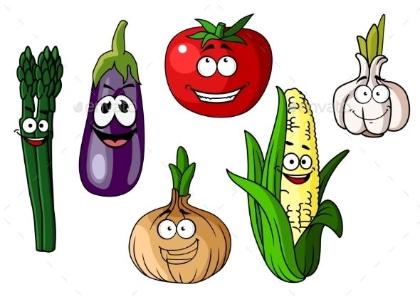 Cartoon Vegetables With Happy Faces