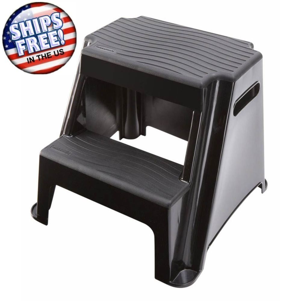 Stupendous Details About Rubbermaid Black Two Step Ladder Plastic Non Caraccident5 Cool Chair Designs And Ideas Caraccident5Info