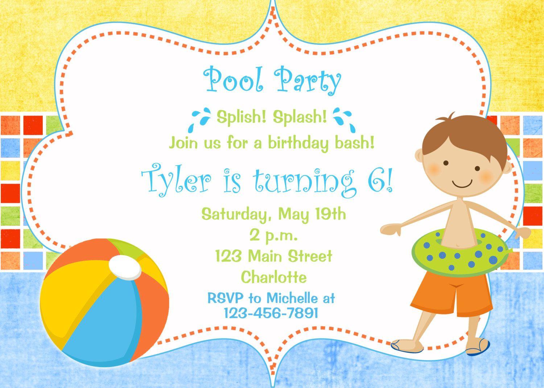 Pool party birthday invitation | Birthday Party Ideas | Pinterest ...