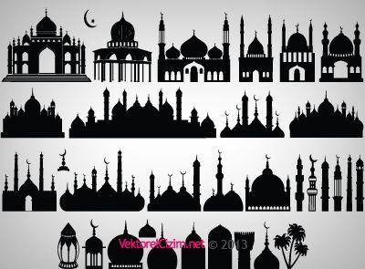 Vektorel Cizim Cami Minare Kubbe Sadirvan Mosque Silhouette Ramadan Crafts Mosque