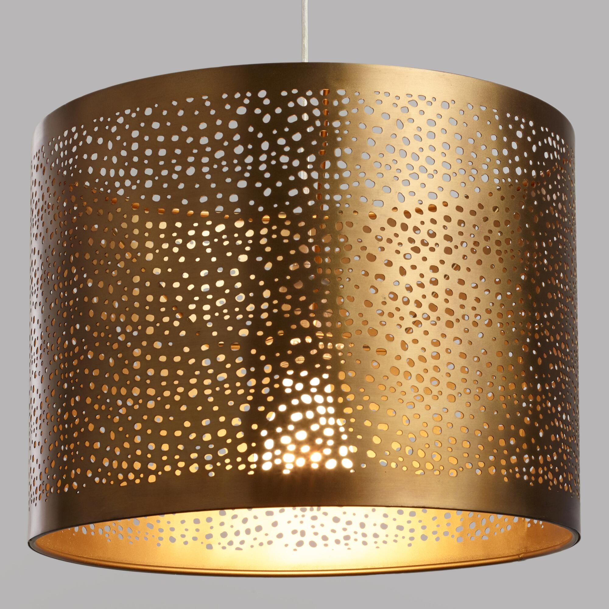 Pierced Antique Brass Drum Table Lamp Shade By World
