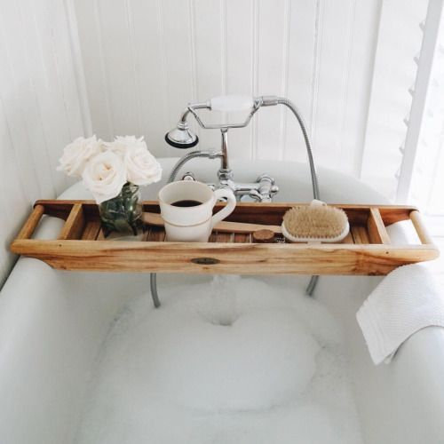 reminder to self: get a teak tub caddy. perfect for my self love ...