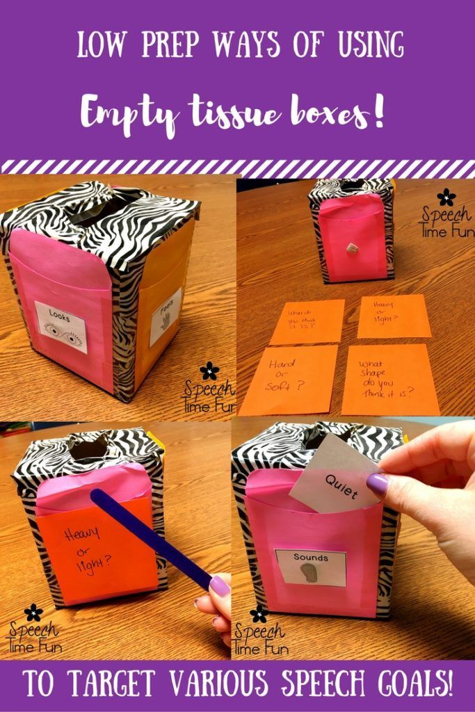 Low Prep Ways Of Using Empty Tissue Boxes In Speech: DIY activity to target describing, prefixes/suffixes, following directions, and more!