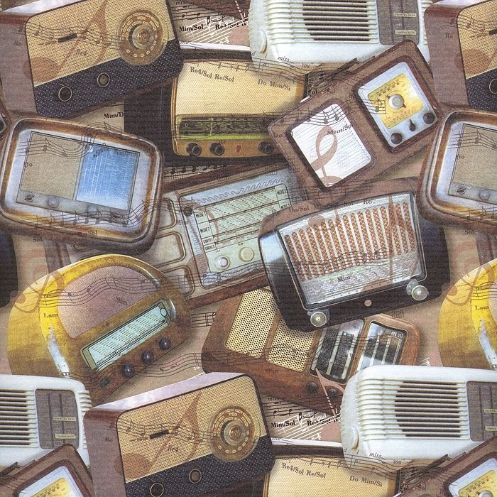 Vintage Radios Collage Italian Paper ~ Kartos Italy
