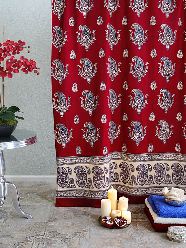 Paisley Print Kashmir Red SHOWER CURTAIN Experience The Therapeutic Benefits Of Color And Wash Blahs Away With Our Unique Handcrafted Decorative Fabric