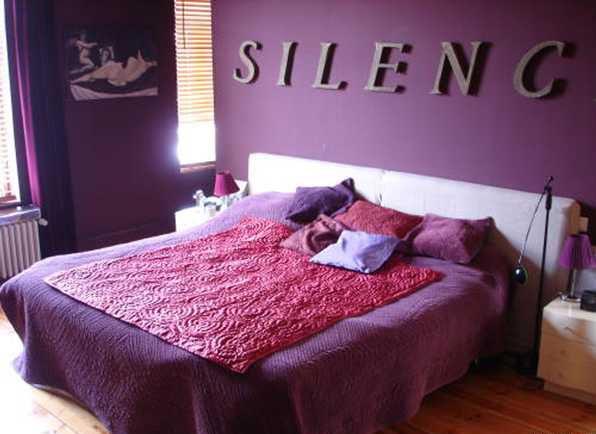 photos chambre couleur prune et taupe