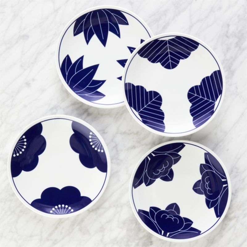 Shop Maison Cobalt Blue Dessert Plates, Set of 4. Inspired by traditional Japanese family crests often seen in kimono, four different