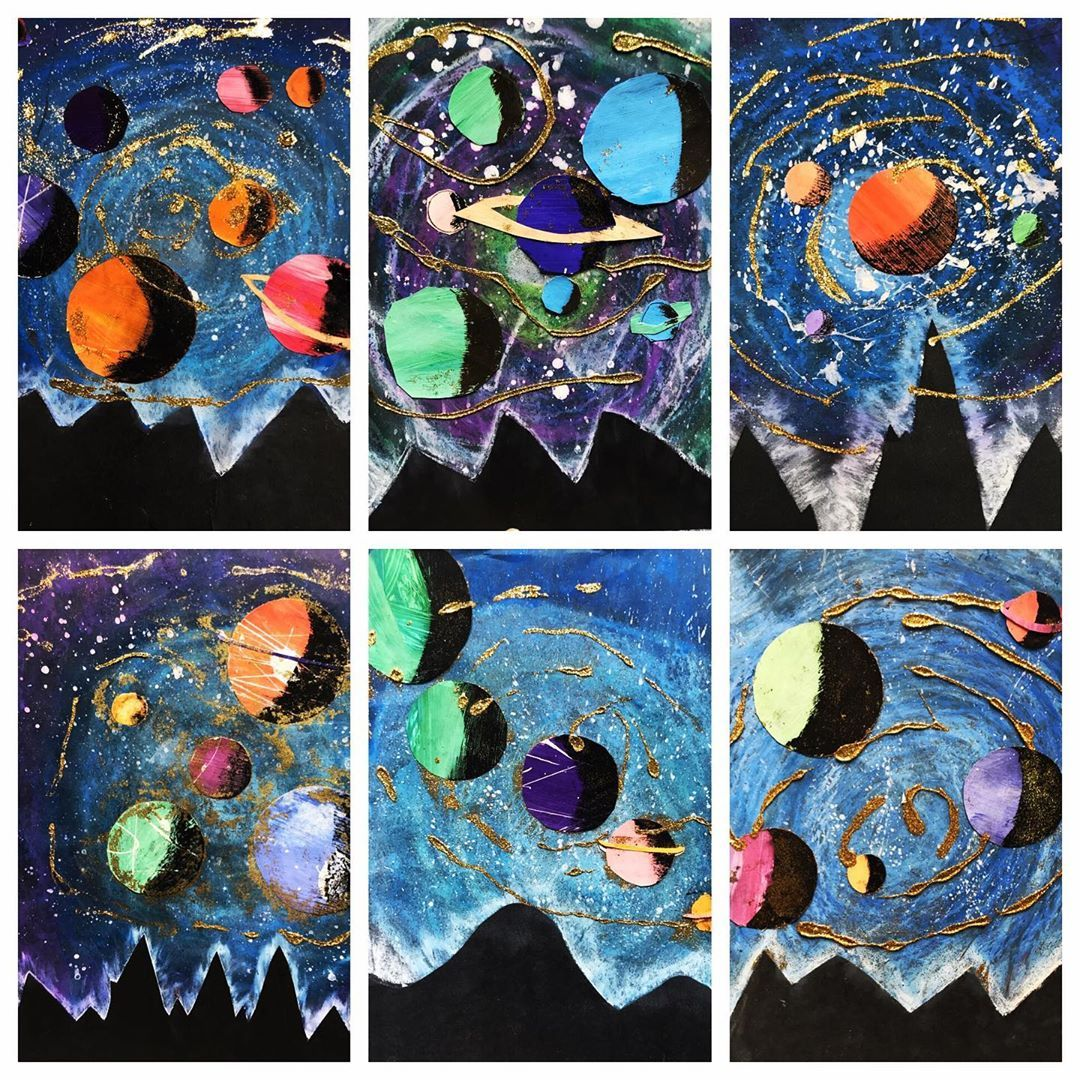 On Instagram 4th Grade Galaxies Inspired By Wenzel Hablik