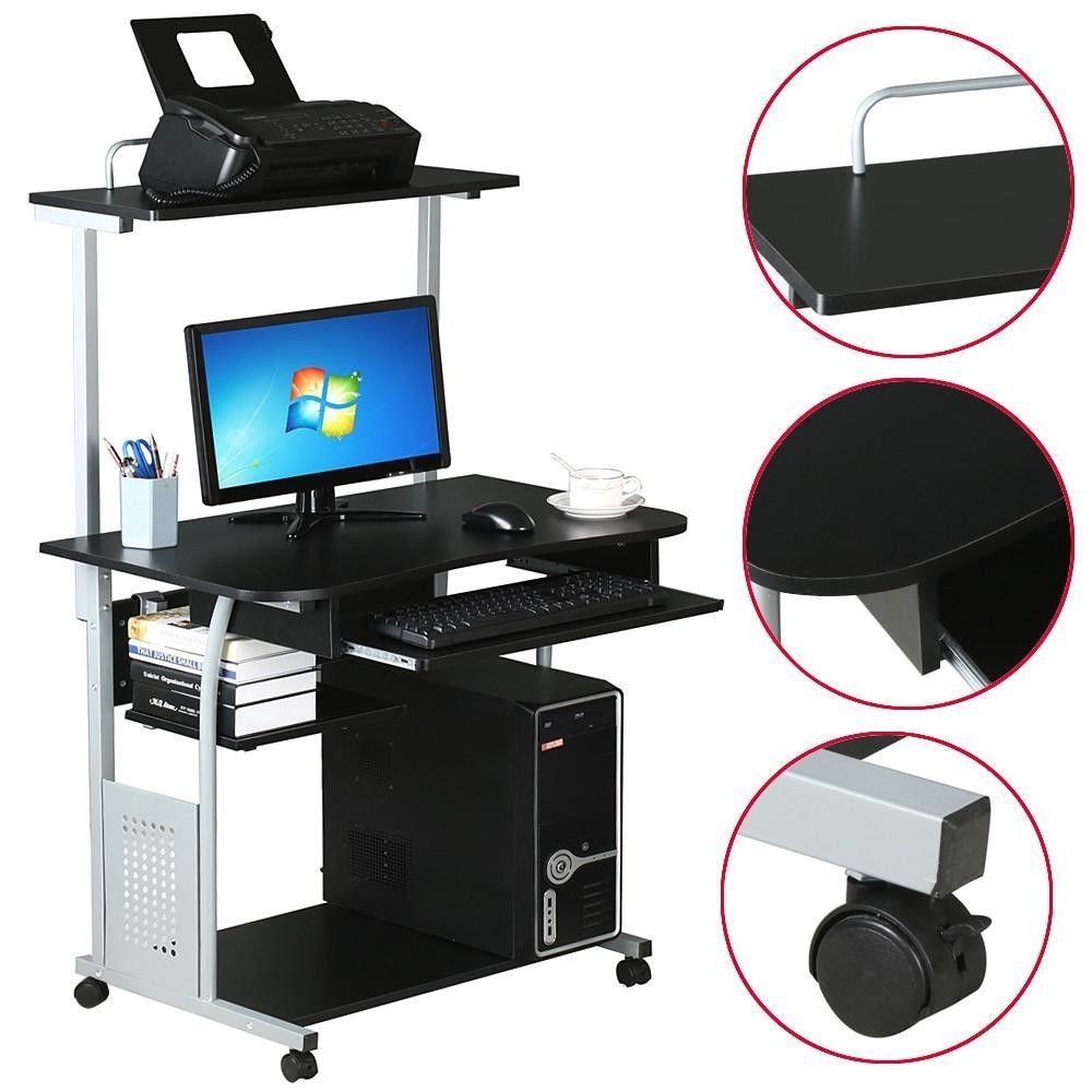 Computer Desk Workstation Printer Shelf Stand Home Office Rolling