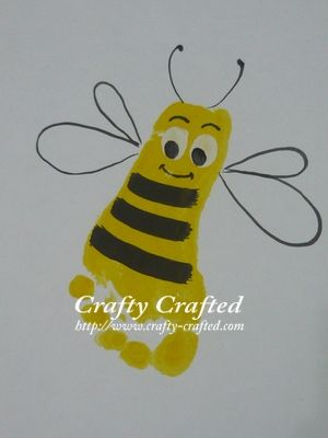 Craft kids handprint painting footprints bees and for Hand and feet painting ideas