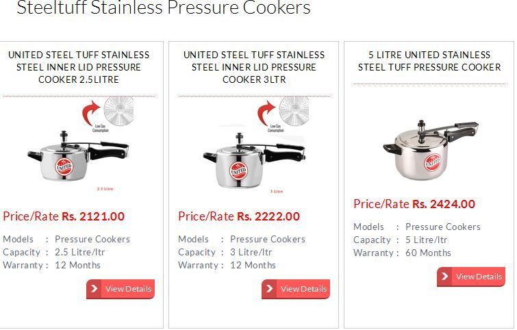 Steel Tuff Pressure Cooker is the most popular and familiar range of pressure cookers from United Pressure Cooker Company