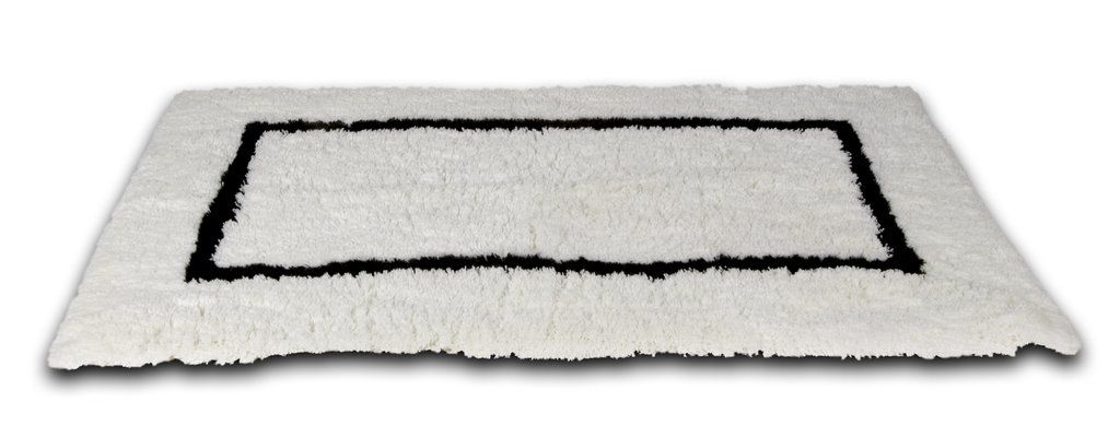 White Bath Rug With Black Border 23 X39 White Bathroom Rug