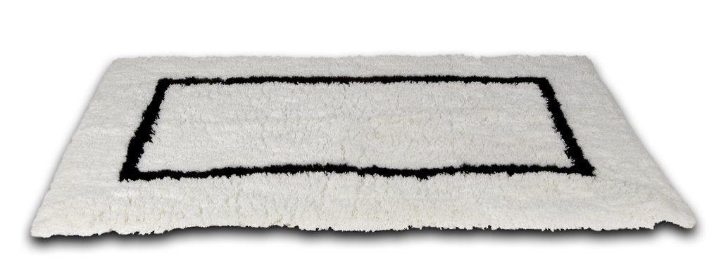 White Bath Rug With Black Border 23 X39 White Bathroom Rug