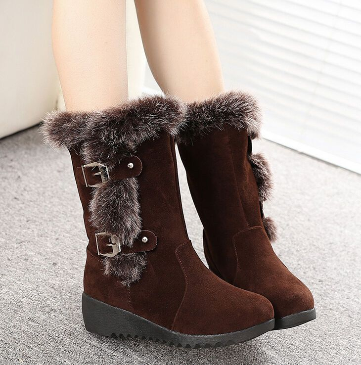 63f2aade9bf6 Women s Winter Warm Snow Boots Thicken Fur Scrub Suede Flats Shoes Brown 8  Boots