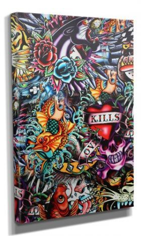 Sugar Skulls (DOTD) :: Day Of The Dead Canvas - Design 8 50x70CM