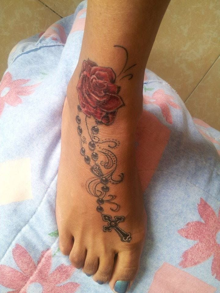 Flor Rosa Y Rosario Varios Pinterest Tatuajes De Rosas
