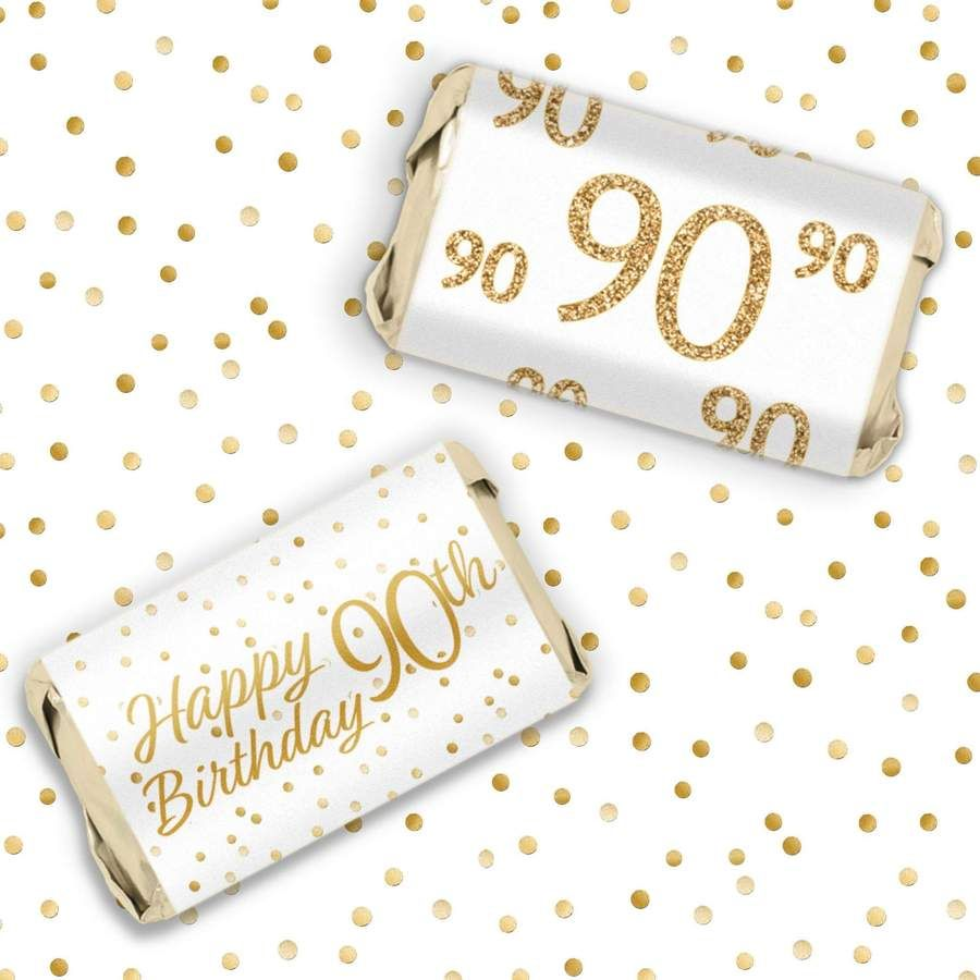 White and Gold 90th Birthday Party Mini Candy Bar Stickers - 45 Count #50thbirthdaypartydecorations