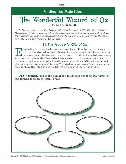 5th Grade Main Idea Worksheet About The Wonderful Wizard
