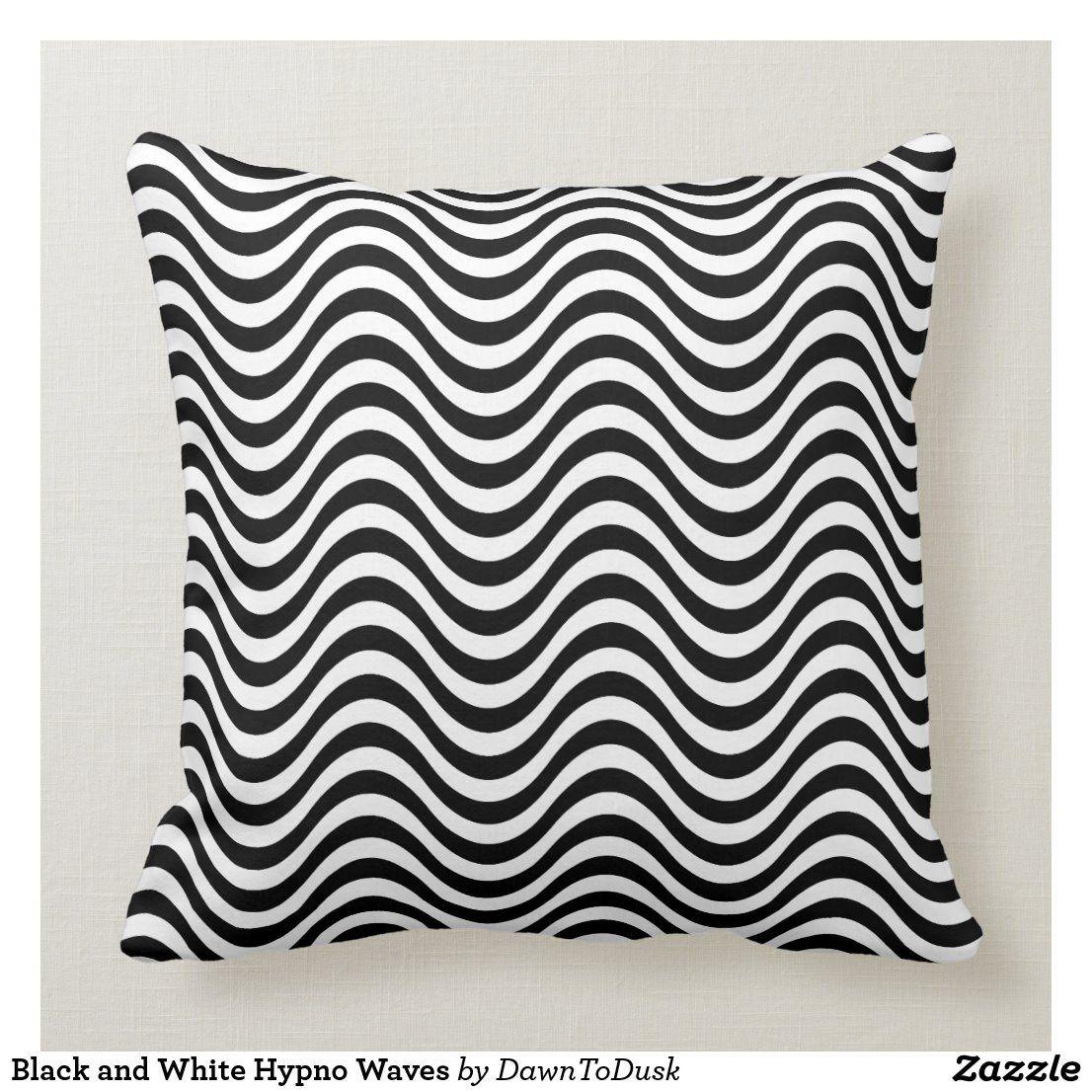 Black And White Hypno Waves Throw Pillow Zazzle Com Throw Pillows Fish Throw Pillow Pillows
